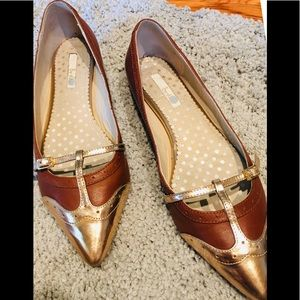 Boden Flat Shoe 41 1/2 Brown/Rose Gold Toe Padded